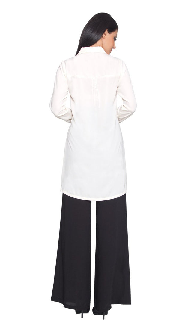 Aubrie Long Buttondown Modest Tunic Dress - Cream - ARTIZARA.COM