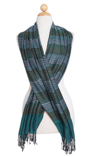 Teal, Bronze and Gray Herringbone Stripe Wrap Hijab