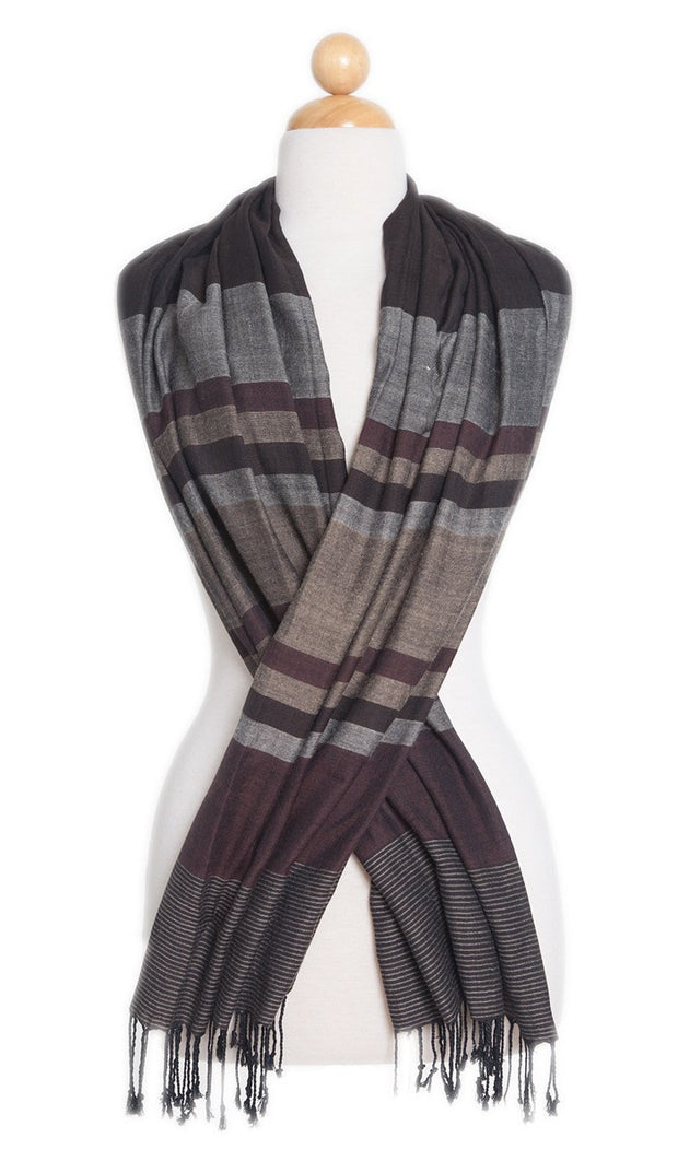 Brown, Maroon, and Gold Striped Wrap Hijab Scarf
