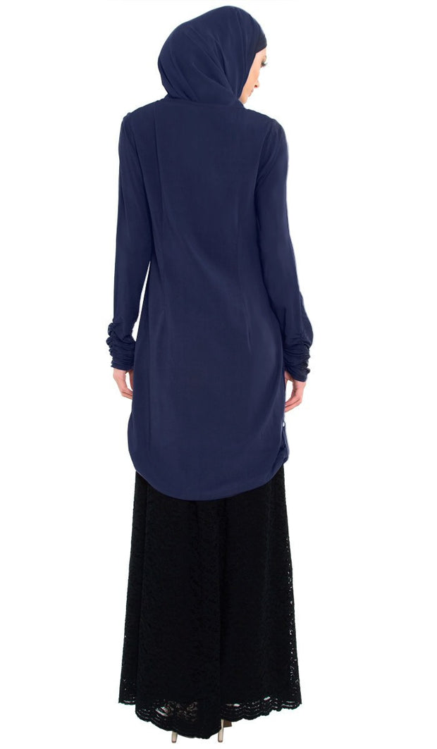 Falisha Long Modest Muslim Tunic  - Navy - ARTIZARA.COM