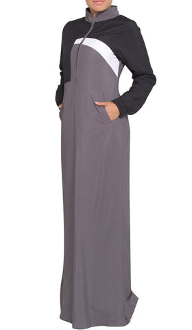 Elian Long Sport Maxi Dress - Gray/Black - ARTIZARA.COM