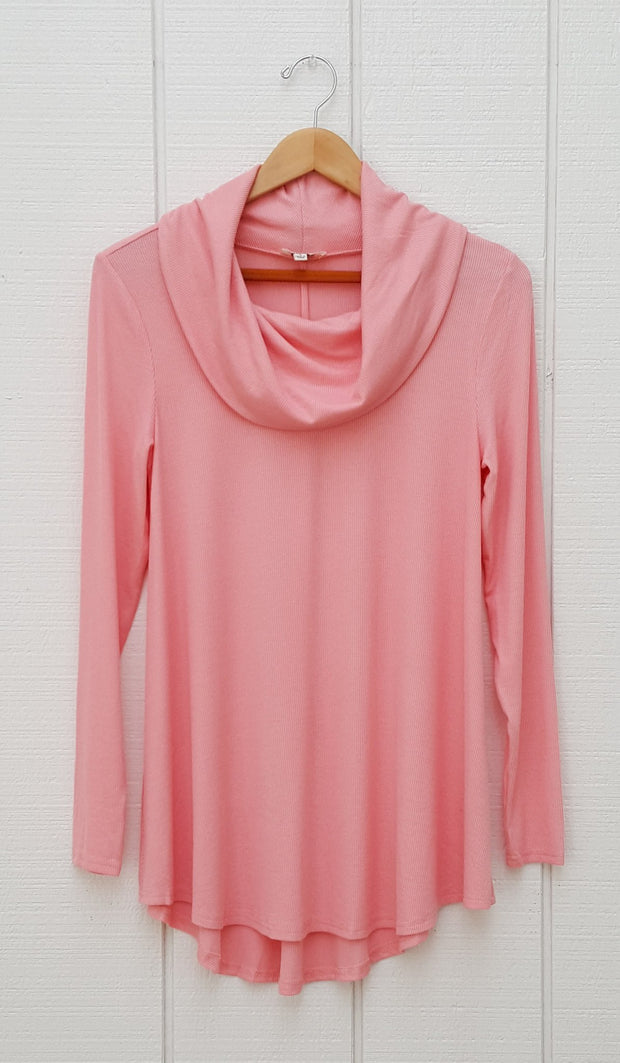 Ema Long Loose Modest Cowl Neck Top - Pink - ARTIZARA.COM