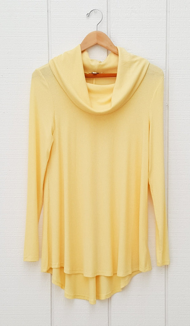 Ema Long Loose Modest Cowl Neck Top - Yellow - ARTIZARA.COM