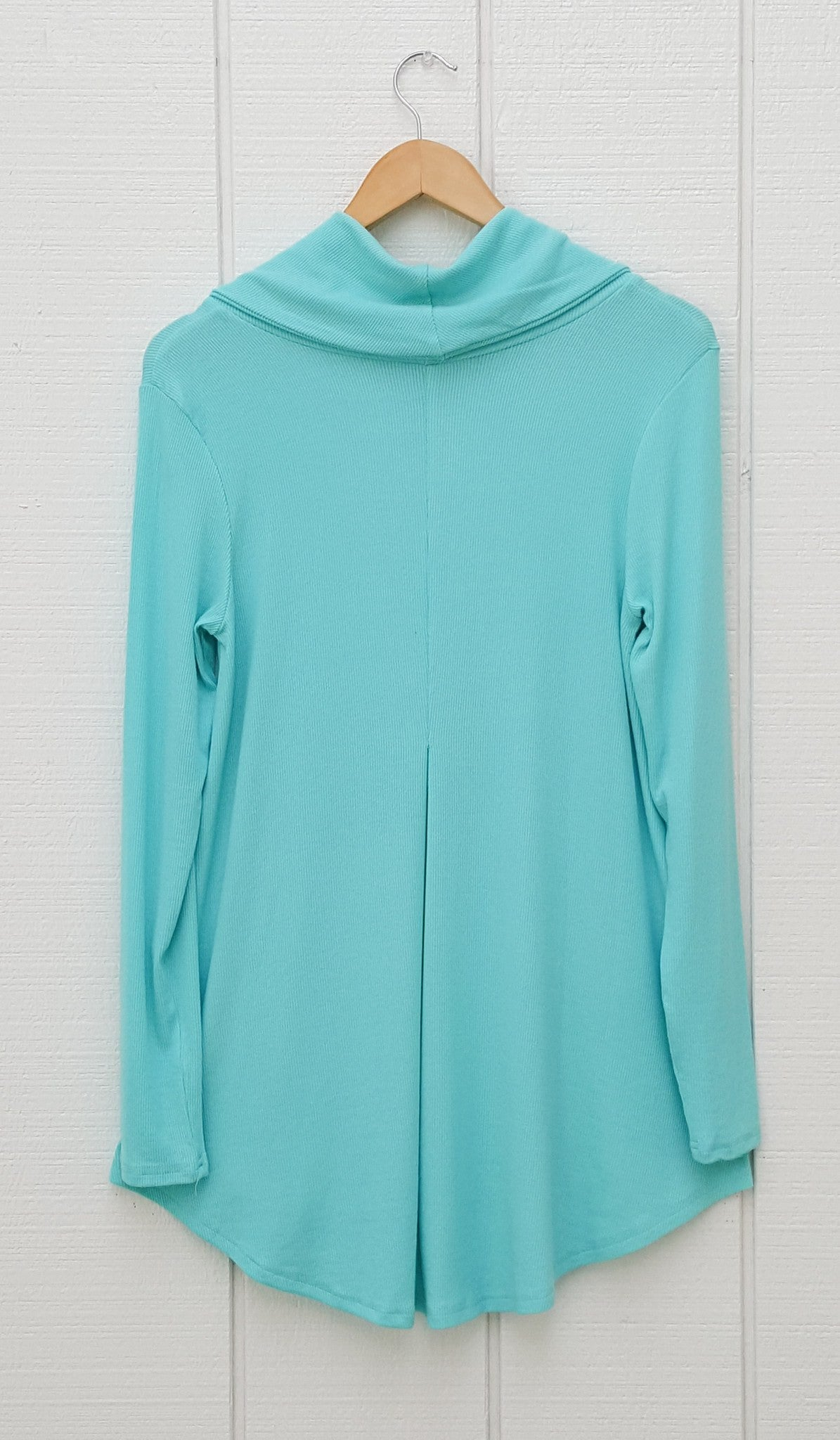 Ema Long Loose Modest Cowl Neck Top - Aqua Blue - ARTIZARA.COM