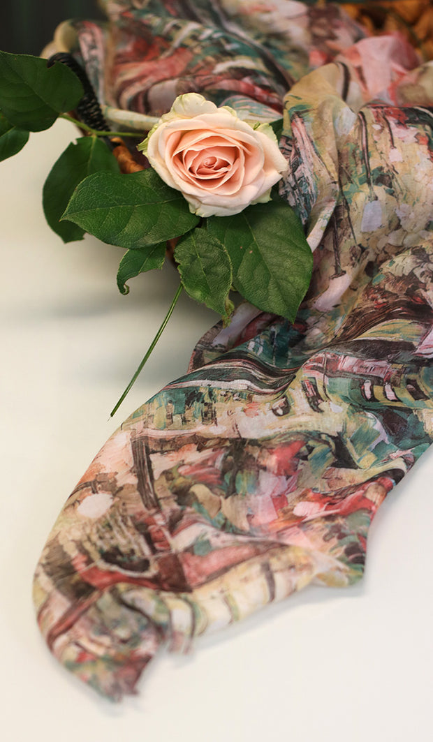Abstract Print Non slip Wrap Hijab - Pink Green and Cream