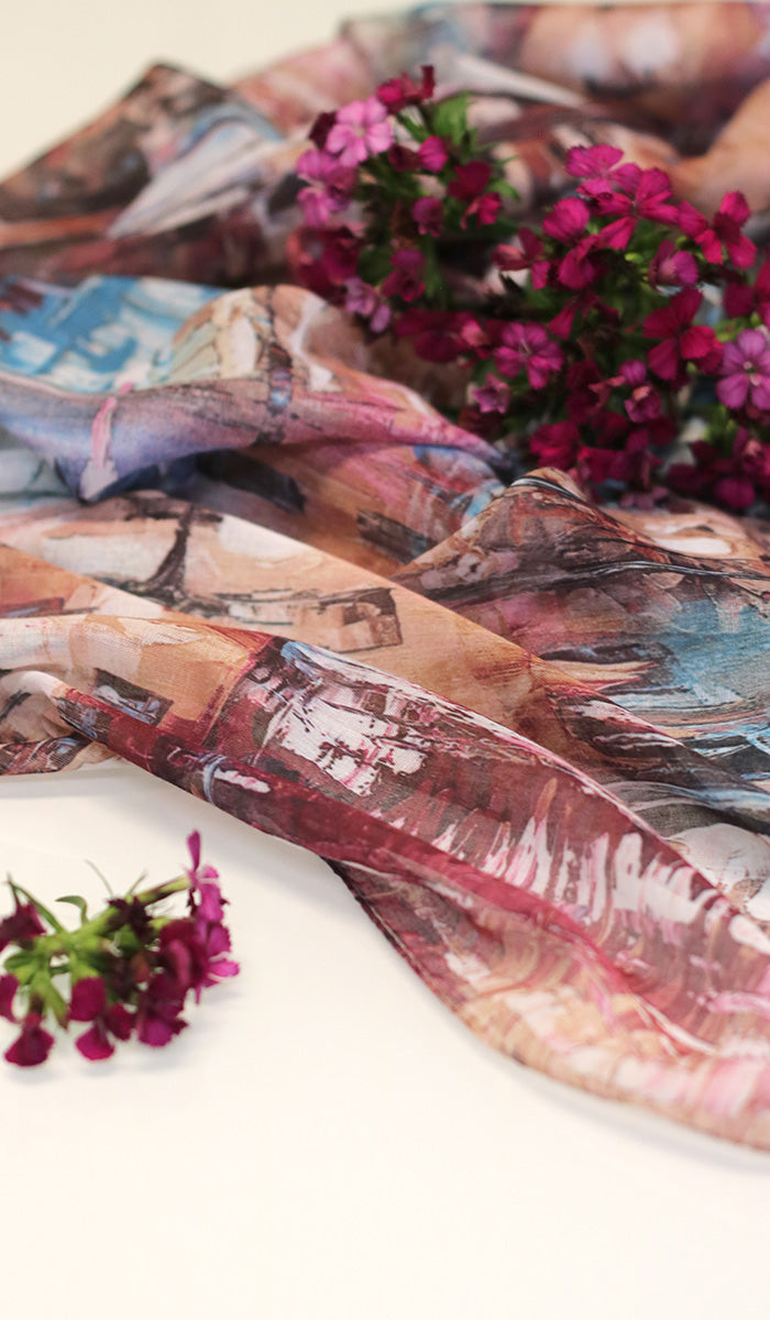 Abstract Print Non slip Wrap Hijab Scarf - Purple Maroon and Blue