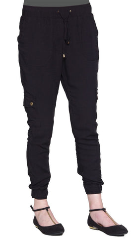 Amy Stylish Loose Jogger Pants - Black - ARTIZARA.COM