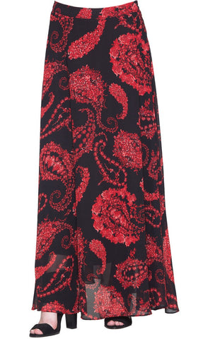 Ava Artsy Paisley Print Long Maxi Skirt - Black /Red - ARTIZARA.COM