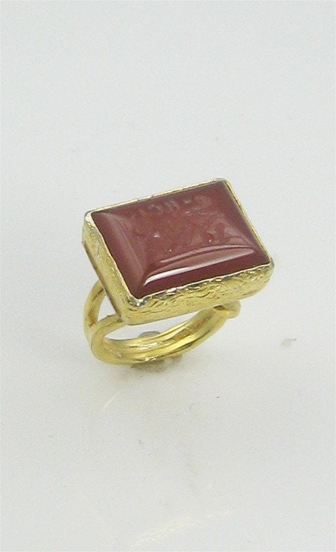 "Goldplated Sterling Silver and Hand Engraved Aqeeq ""Mohammed"" Ring (Large)"
