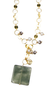 Abir Contemporary MashAllah Arabic Necklace-Moss