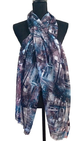 Abstract Print Non slip Wrap Hijab Scarf - Blue Gray and Mauve
