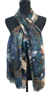 Abstract Print Non slip Wrap Hijab Scarf - Blue Green and Black