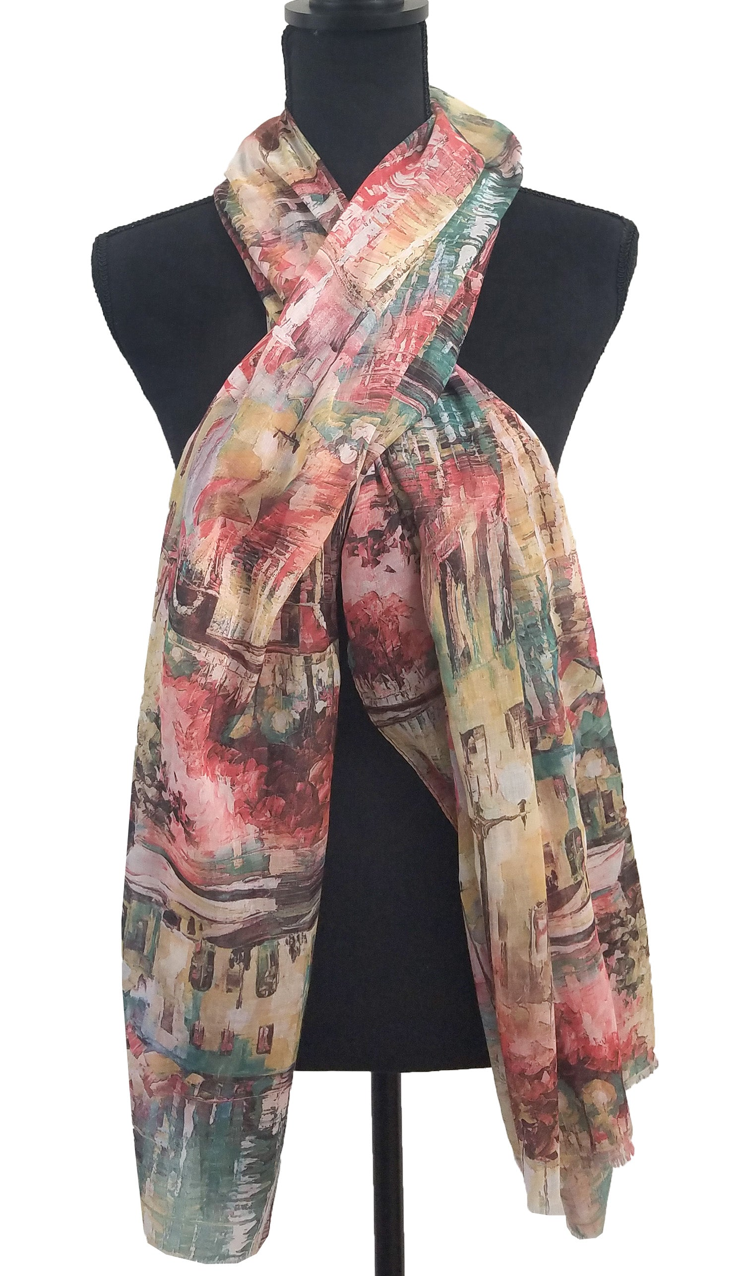 Abstract Print Non slip Wrap Hijab Scarf - Pink Green and Cream