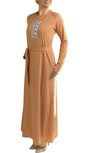 Adina Embroidered Long Maxi Dress Abaya - Beige