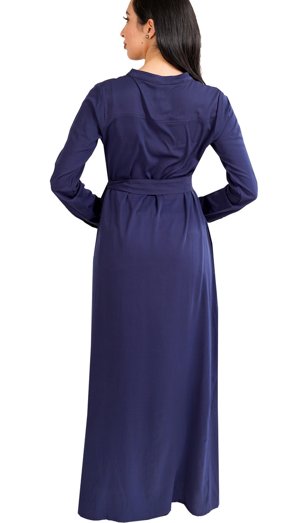 Adina Embroidered Long Maxi Dress Abaya - Navy
