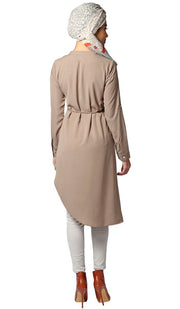 Afrah Long Modest Midi Tunic Dress - Mocha Brown