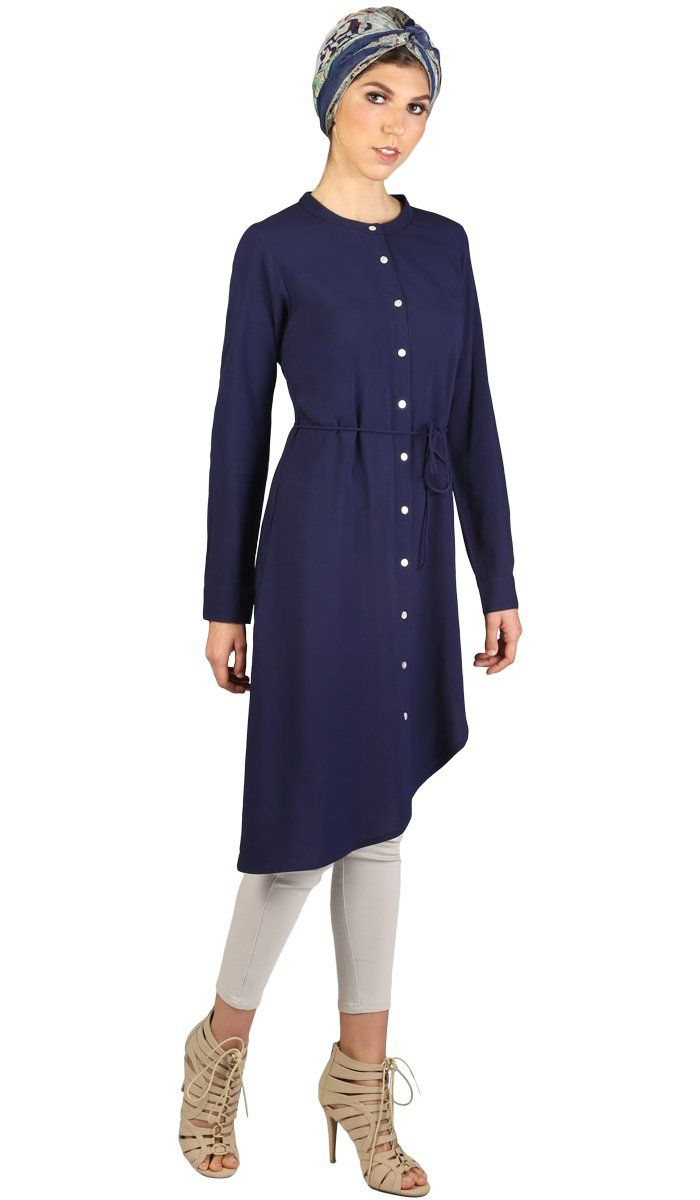 Afrah Long Modest Midi Tunic Dress - Navy Blue