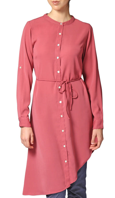 Afrah Long Modest Midi Tunic Dress - Rose Pink