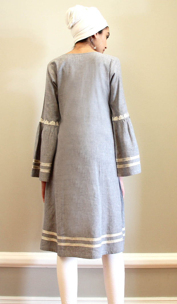Aicha Embroidered Cotton Modest Midi Tunic - Gray