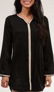 Aida Embroidered Long Modest Tunic - Black