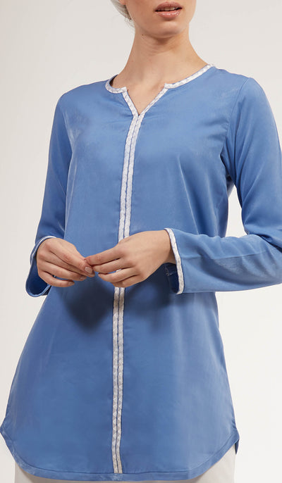 Aida Embroidered Long Modest Tunic - French Blue