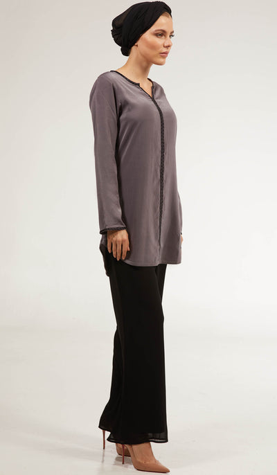 Aida Embroidered Long Modest Tunic - Slate Gray