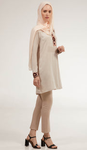 Aisara Embroidered Long Modest Tunic - Almond