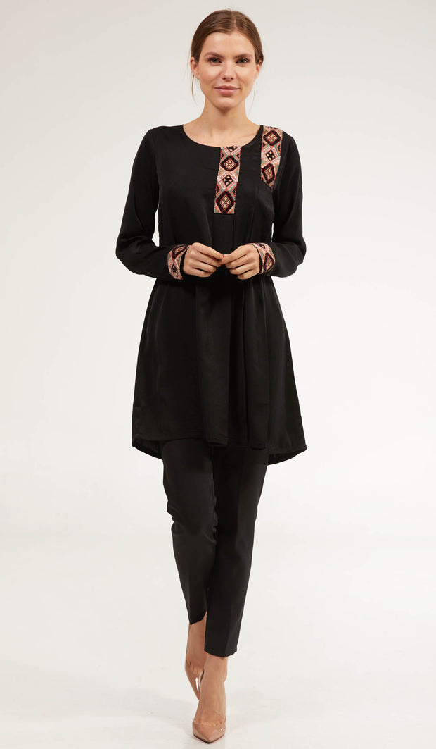 Aisara Embroidered Long Modest Tunic - Black