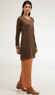 Aisara Embroidered Long Modest Tunic - Bronze