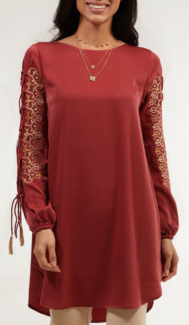 Ajva Embroidered Long Modest Tunic - Clay