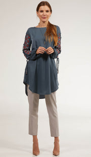 Ajva Embroidered Long Modest Tunic - Denim Blue
