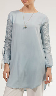 Ajva Embroidered Long Modest Tunic - Ice Blue