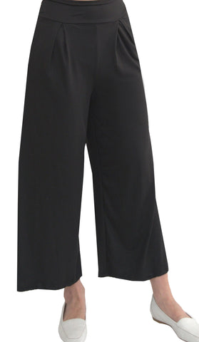 Alia Comfy Wide Leg Cropped Flowy Stretch Pants - Black