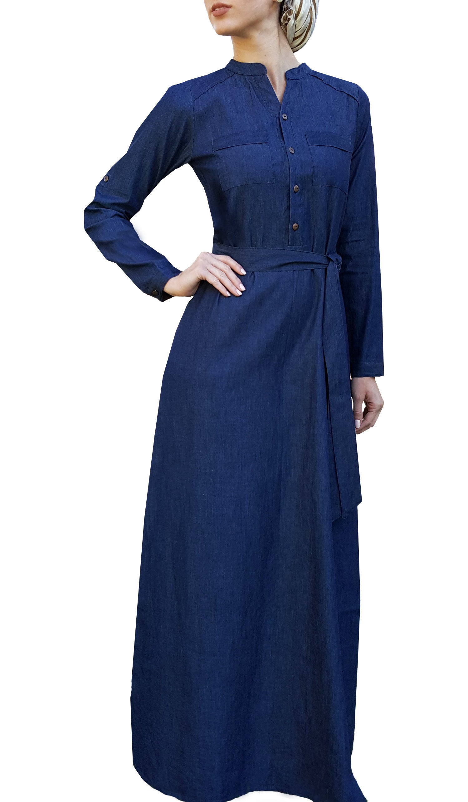 01c6616e182 Stylish Denim Islamic Maxi Dress Abaya | Muslim Dresses | Artizara.com –  ARTIZARA.COM