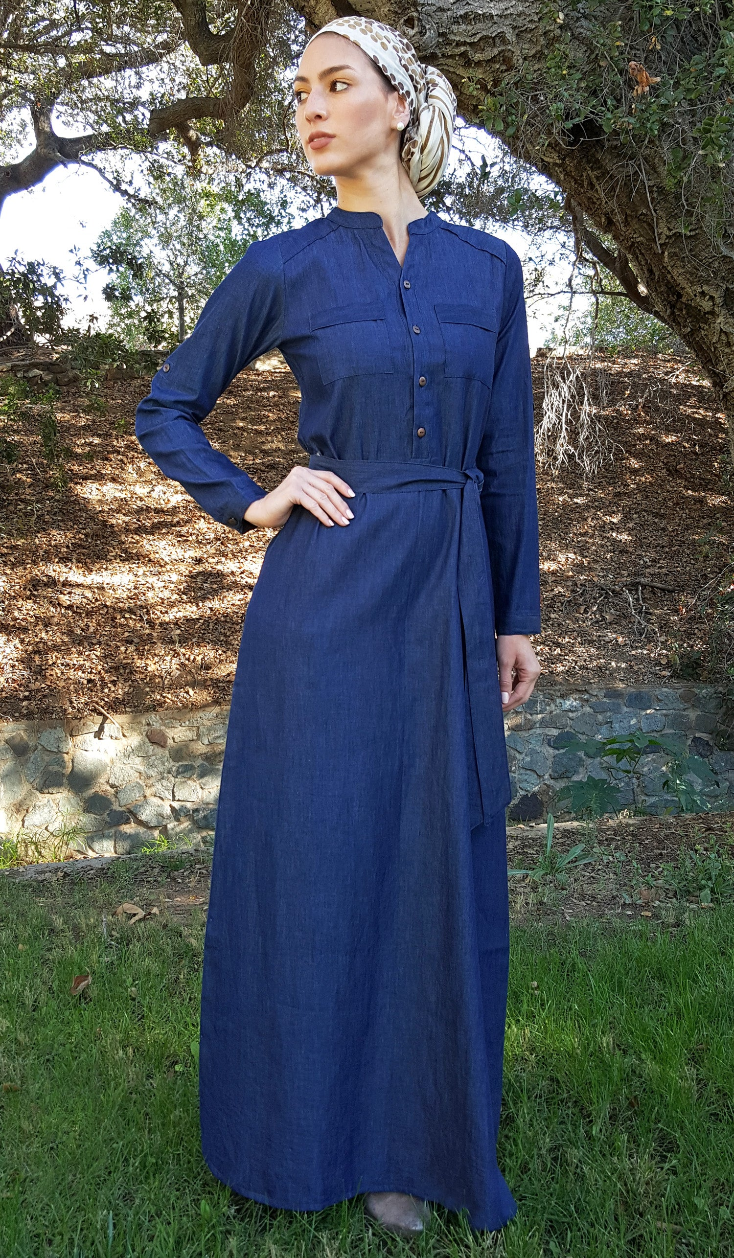 Alima Button Down Belted Maxi Dress Abaya - Denim
