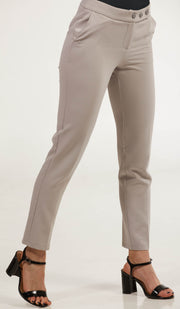 Alma Tailored Stretch Cigarette Pants - Pearl