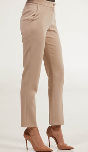 Alma Tailored Stretch Cigarette Pants - Taupe