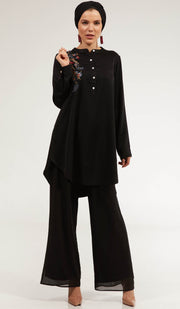 Alsu Embroidered Long Modest Tunic - Black