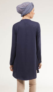 Alsu Embroidered Long Modest Tunic - Blue