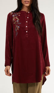 Alsu Embroidered Long Modest Tunic - Maroon