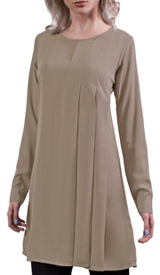 Althea Long Modest Muslim Tunic Dress - Mocha