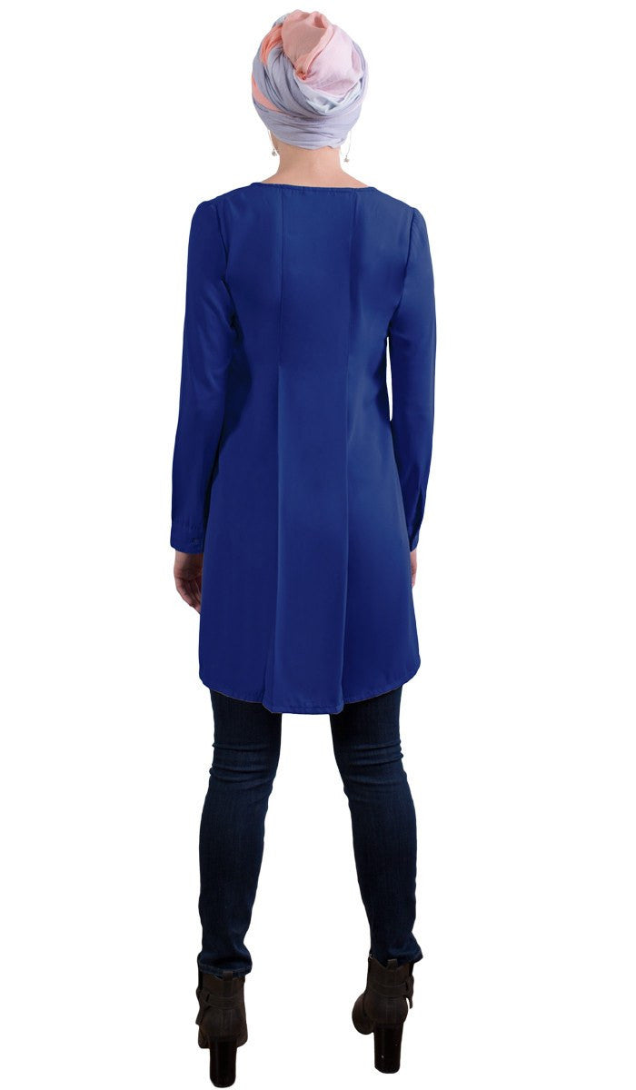 Althea Long Modest Muslim Tunic Dress - Royal Blue
