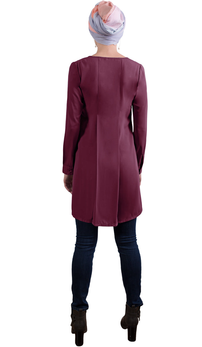Althea Long Modest Tunic Dress - Maroon