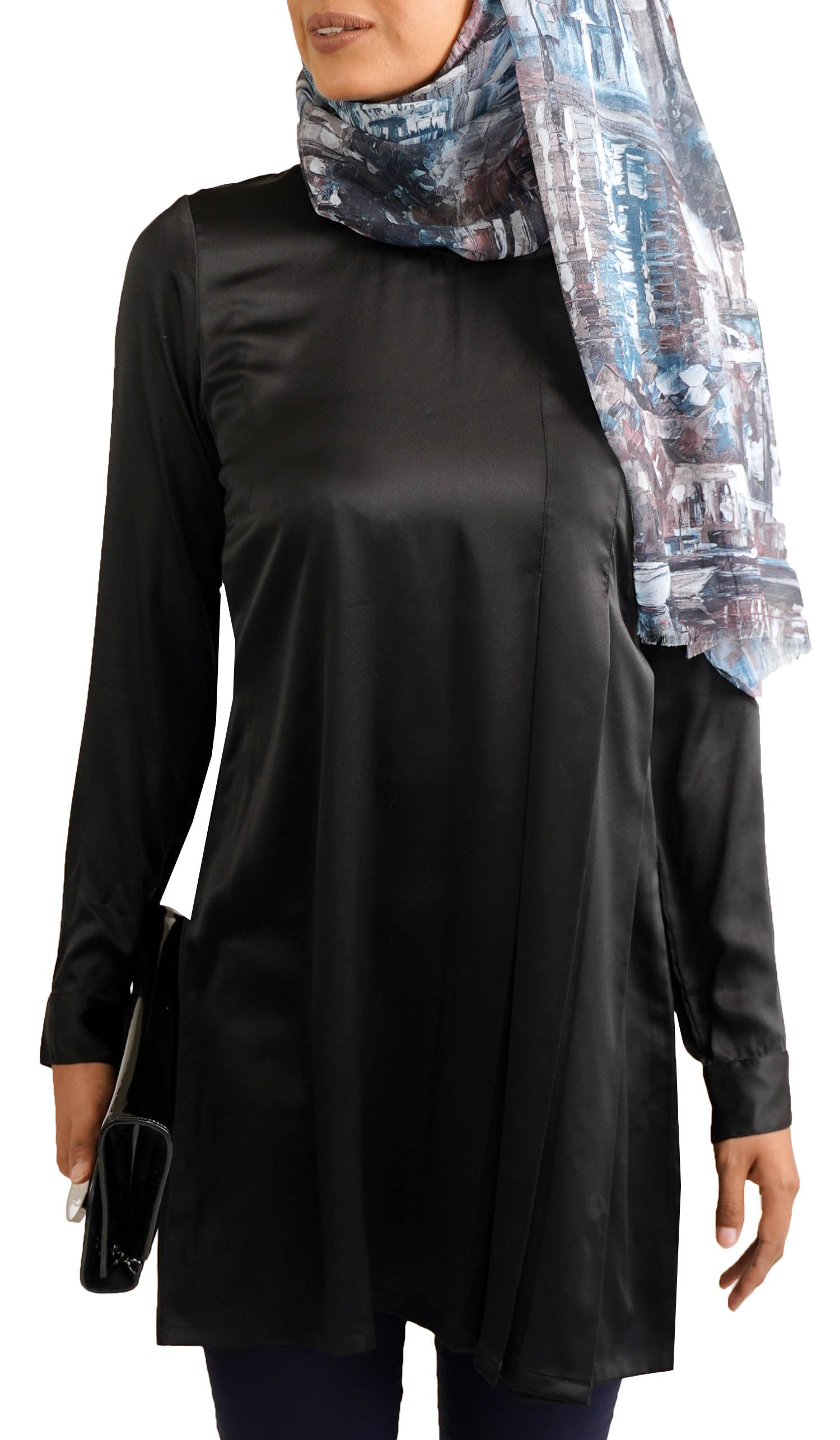 Althea Silky Formal Long Modest Tunic Dress - Black