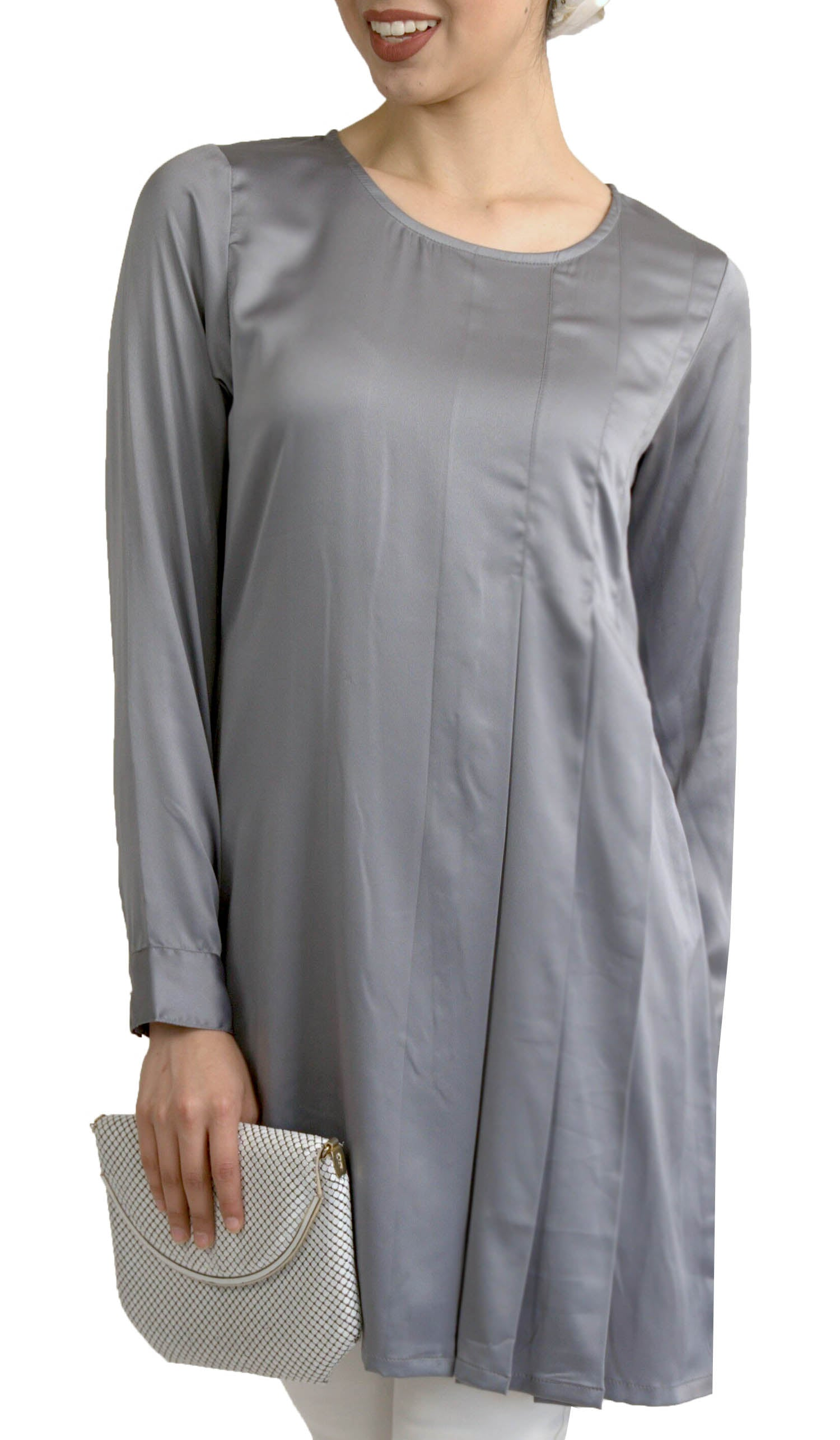 Althea Silky Formal Long Modest Tunic Dress - Gray Pearl