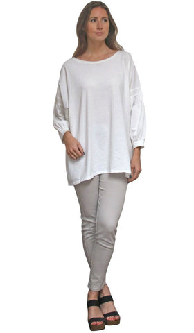 Aly Long Loose Modest Stretch Top - Cream