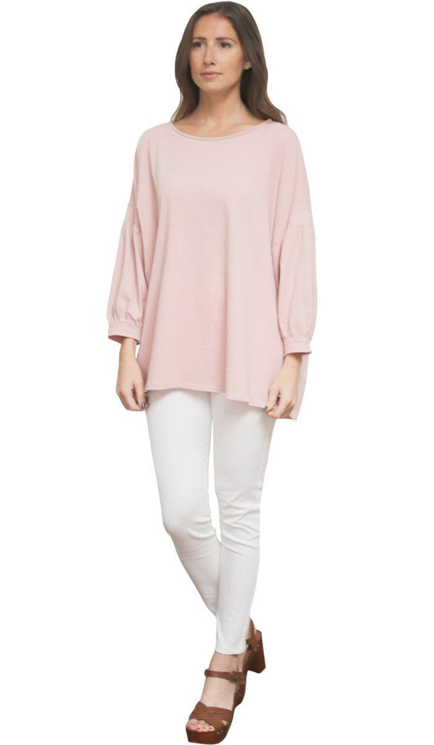 Aly Long Loose Modest Stretch Top - Dusty Pink