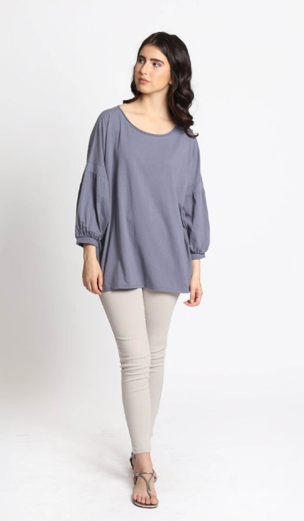 Aly Long Loose Modest Stretch Top - Blue