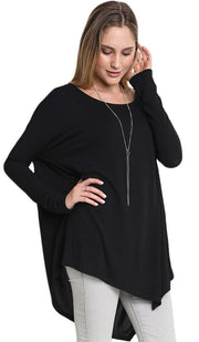 Amal Long Loose Modest Top - Black - ARTIZARA.COM