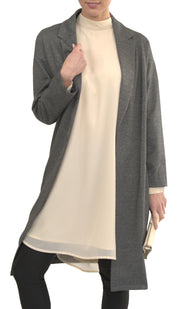 Amal Loose Longline Dressy Blazer Jacket - Grey / Black
